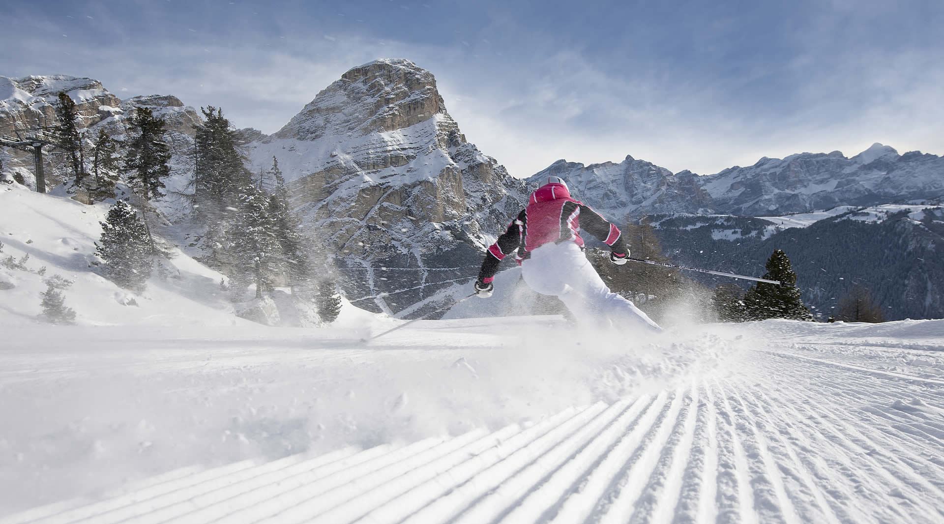 Skiing on the Forcella Ski slope of the Dolomiti Superski